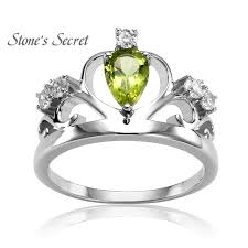 sterling silver wedding gifts royal crown ring water drop birthday peridot 925