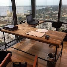 Office Desks Wood Farmhouse Office Desk In L Shape Made With Reclaimed Wood And Pipe
