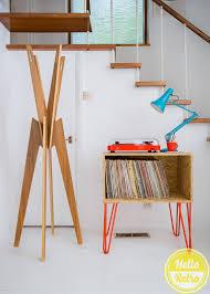 Lp Record Cabinet Furniture Retro Osb Board Mid Century Style Sideboard Record Vinyl Storage