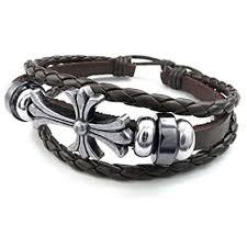 cross bracelet leather images Konov mens womens leather bracelet celtic cross charm jpg