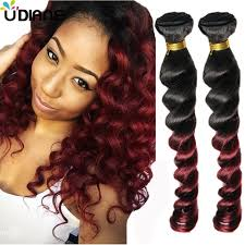 brazilian human hair ombre loose wave two tone red wine ombre hair