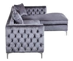 Amazon Sectional Sofas by Amazon Com Iconic Home Da Vinci Tufted Silver Trim Grey Velvet