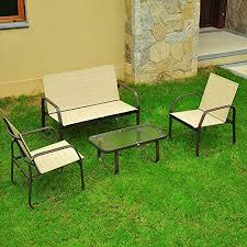 Patio Furniture Sets Walmart by Outsunny 4 Piece Aluminum Mesh Outdoor Furniture Set Walmart Com