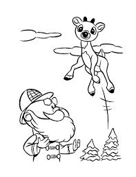 santa and reindeer coloring pages printable glum me