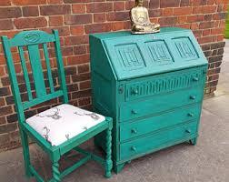bureau turquoise bureau etsy