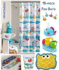 Kids Bathtub Mat 18pc Somethings Fishy Fish Bath Set Shower Curtain Hooks Rug