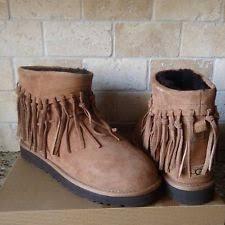 s ugg australia chestnut mini boots ugg australia wynona fringe chestnut suede sheepskin boots