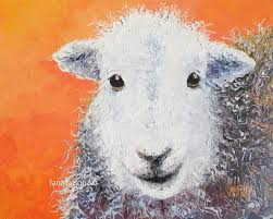 Sheep Home Decor Sheep Painting Nursery Art Lamb Animal Painting Kitchen