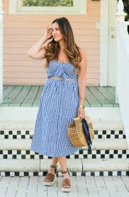 blue gingham midi dress best july 4th sales sunflowers and