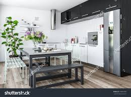 modern black and white kitchen modern kitchen minimalist interior design black stock illustration