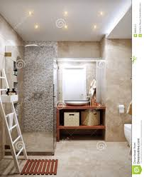 modern bathroom interior with stone travertine tiles stock