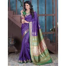purple silk blouse buy craftsvilla purple bangalore silk saree with contrast jacquard