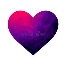 different colors of purple polygonal heart shimmering gradient with different colors stock