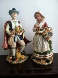 thanksgiving pilgrim figurines vintage mid century pilgrim figurines in plaster puritan