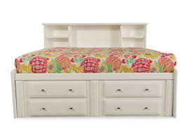 solid pine youth bookcase bed with storage drawers in white