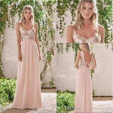 2017 new rose gold bridesmaid dresses a line spaghetti straps