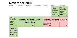 thanksgiving recess hours j paul leonard library