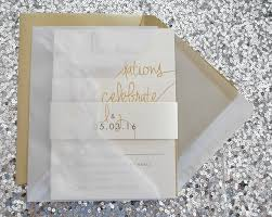 paige wedding invitation suite with belly band and vellum