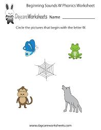 free beginning sounds letter w phonics worksheet for preschool