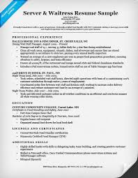 food service resume server waitress resume sle resume companion