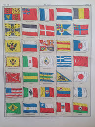 1875 flag print wall decor home decor matted and ready to