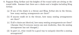 round table number of seats solved suppose king arthur and the knights of the round t