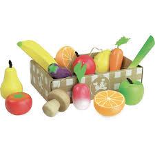 vilac cuisine caissette de fruits et légumes en bois jeu imitation cuisine