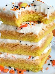halloween frosted sugar cookies candy corn sugar cookie bars together as family