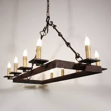 Mission Style Chandelier Lighting Vintage Medieval Forged Iron Chandelier 6 Light Lamp Shade Pro