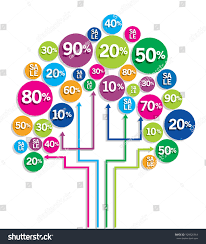 on line shopping tree offer discount stock vector 109826864