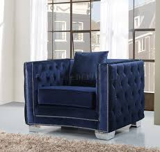 648 sofa in navy velvet fabric w optional items