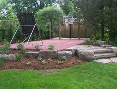 Backyards Ideas Small Side Yard Basketball Court W Boxwood And Net Barriers