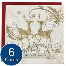 6 luxury christmas cards reindeer christmas cards at the works