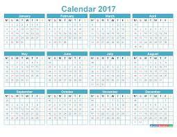 Printable Calendar 2017 with Week Numbers Template BLue