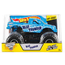 toy grave digger monster truck wheels monster jam 1 24 blue thunder die cast vehicle