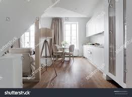 white attic apartment interior shabby chic stock photo 628068824