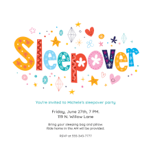 unicorn dreams free printable sleepover party invitation