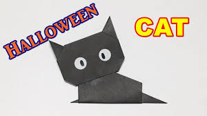 Black Cat Halloween Crafts How To Make A Paper Cat Origami Halloween Black Cat Easy But