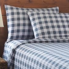 martex blue gray plaid flannel sheets set tree shops