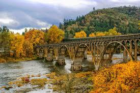 Oregon landscapes images Free stock photo of autumn landscape and bridge in oregon public jpg