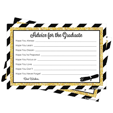 advice cards for black and gold graduation party advice cards for the graduate