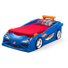 step2 wheels toddler to twin race car bed blue walmart com