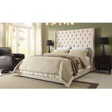 Tufted Wingback Headboard Bedroom Charming Bedroom With Beige Linen Upholstered Tufted