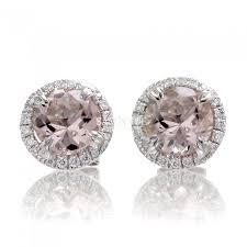 diamond earring studs morganite diamond earring studs in a halo setting