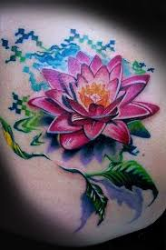 a colorful and creative lotus flower tattoo design that is a great