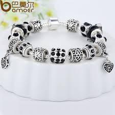 silver beaded charm bracelet images Bamoer hot sell european style silver crystal charm bracelet for jpg