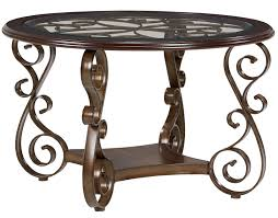 Standard Furniture Dining Room Sets Round Dining Table With Metal Scroll Pattern By Standard Furniture