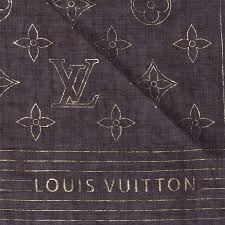 louis vuitton cotton monogram scarf brown and gold 83001 pinch zoom
