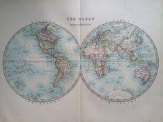1903 original antique world map map of the world wall decor