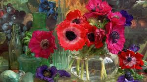anemones flowers grape vase black decoration anemones flowers wallpapers